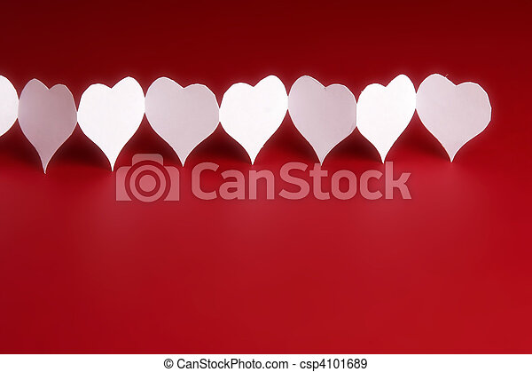 Paper hearts on red background - csp4101689