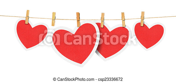 paper hearts on rope - csp23336672
