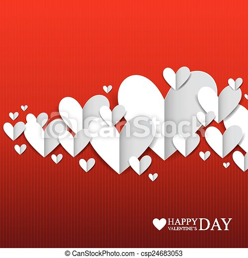 Paper hearts on the red background - csp24683053