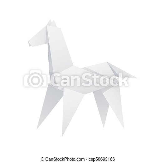 Paper Horse Origami Isolated Vector