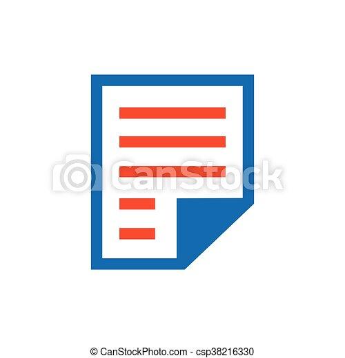 paper icon and logo blue orange