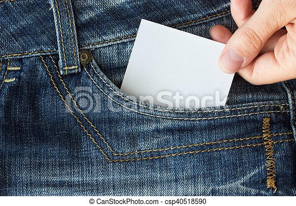 paper in blue jeans pocket - csp40518590