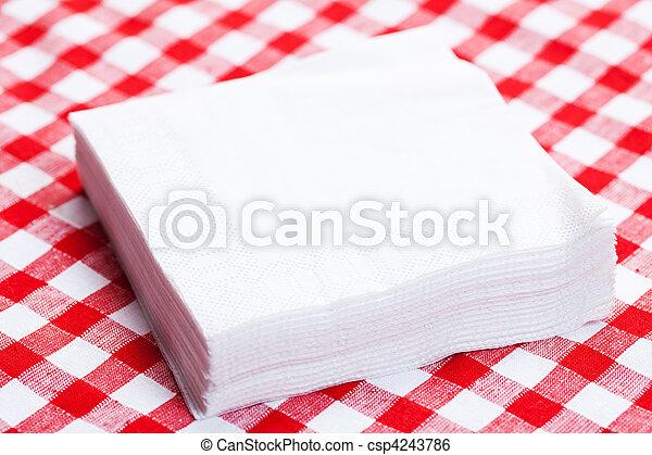 paper napkins on picnic tablecloth - csp4243786