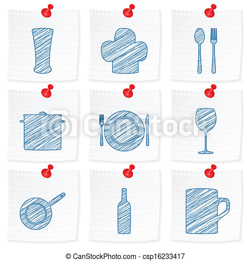 paper note and drawing kitchenware symbol - csp16233417