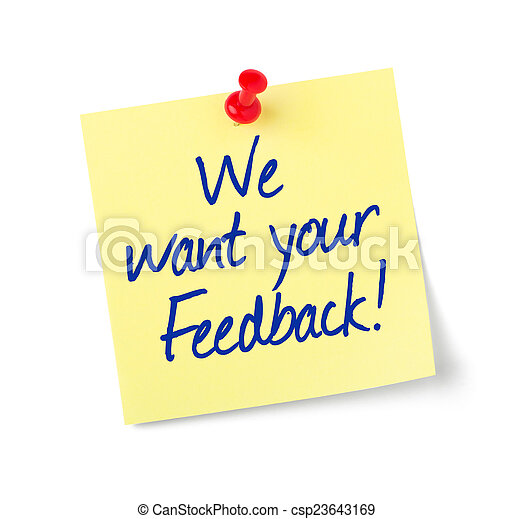 Paper note with text We want your Feedback - csp23643169