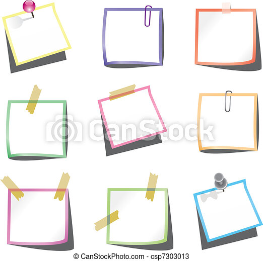paper notes with push pin and paperclip - csp7303013