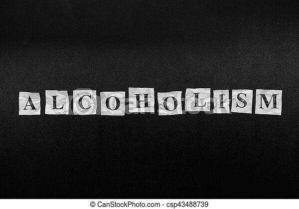 Paper notes with the word Alcoholism - csp43488739