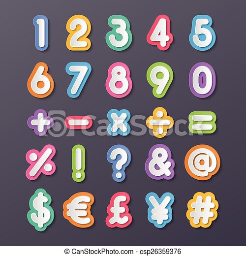 Paper Number And Symbol Colorful Paper Alphabet Numbers And Symbols