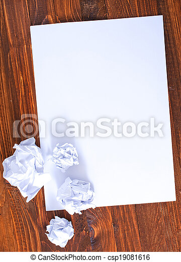 paper on wooden background - csp19081616