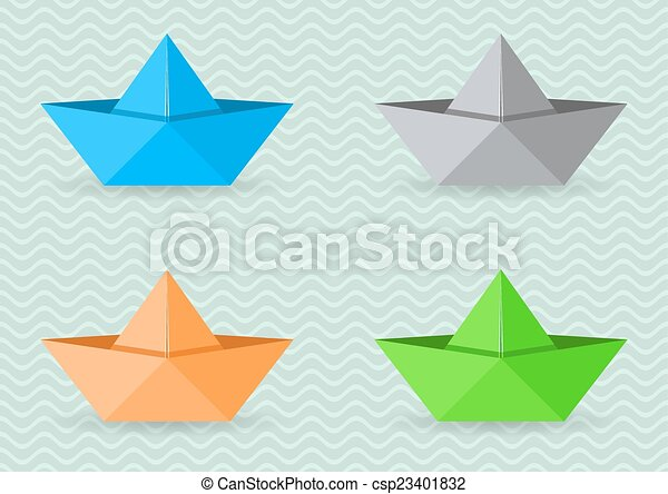 Paper Origami Boats Set Of Four Colorful Vector Paper Origami Boats