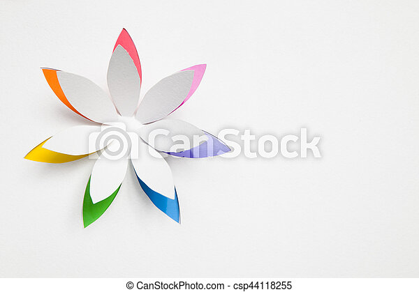 Paper Origami Flower On White Background Greeting Card
