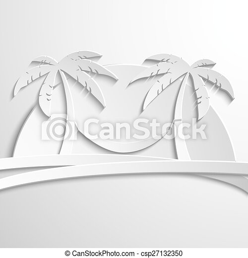 Paper Palma on island in the sea  Vector illustration modern template  design