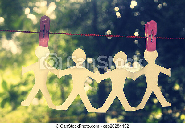 Paper People Chain Hanging - csp26284452
