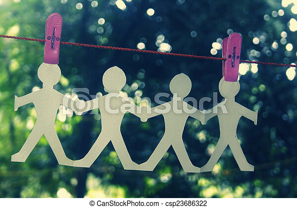 Paper People Chain Hanging - csp23686322