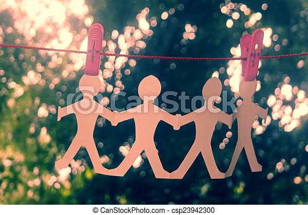 Paper People Chain Hanging - csp23942300