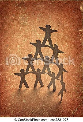 paper people cutout connection community - csp7831278