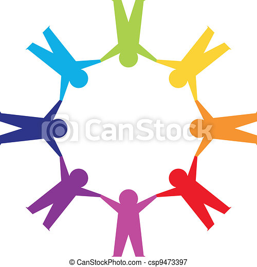 Paper people in circle holding hands - csp9473397