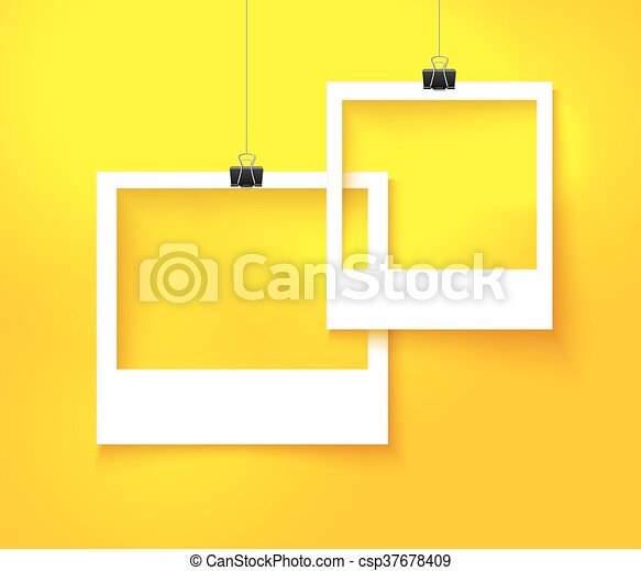 Paper photo frames composition. vector template with bright orange ...