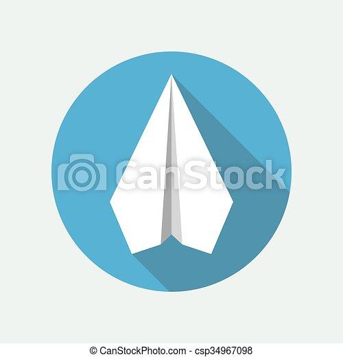 Paper Plane Flat Icon Origami Airplane Symbol