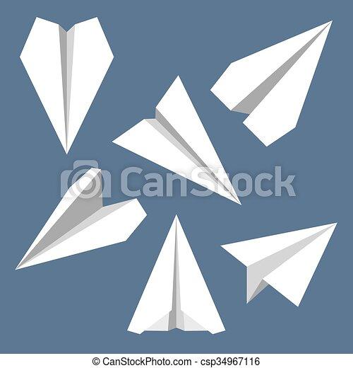 Paper Plane Flat Symbols Set Paper Origami Airplanes Paper Plane