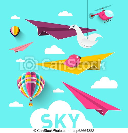 Paper Planes with Hot Air Balloons, Origami Birds, Clouds and Helicopter. Vector Blue Sky Design. - csp62664382