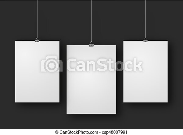 paper poster mockup design paper sheet blank template frame on wall