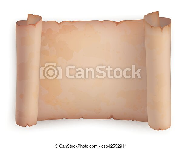 Paper roll or horizontal old scroll, parchment - csp42552911