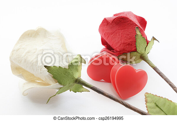 Paper rose and heart - csp26194995