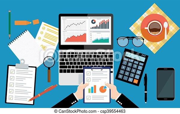 Paper sheet, hands, magnifier, paperwork, consultant, business adviser financial audit - csp39554463