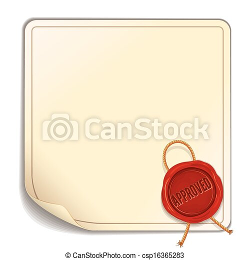 Paper Sheet with Red Wax Seal - Approved. Vector - csp16365283