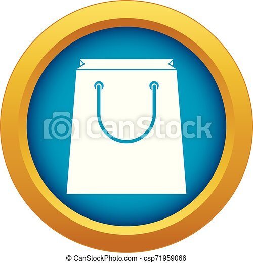 Paper shopping bag icon blue vector isolated - csp71959066