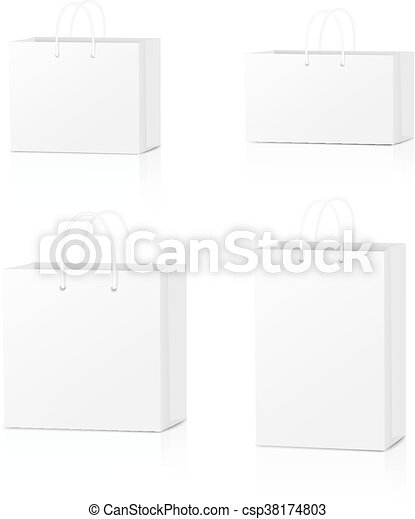 Paper Shopping Bags collection isolated on white background. Vector illustration - csp38174803