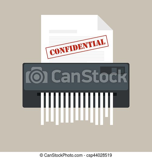 paper shredder confidential icon and private document office information protection - csp44028519