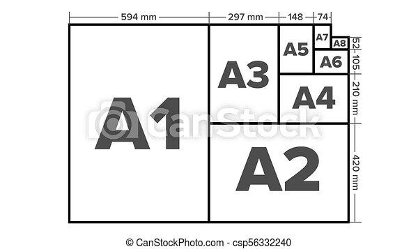 paper sizes vector a1 a2 a3 a4 a5 a6 a7 a8 paper sheet