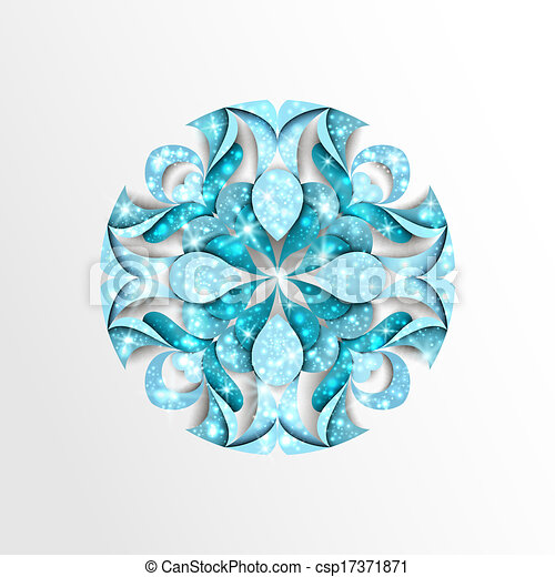 Paper snowflake with stars and twinkly lights - csp17371871