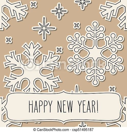 Paper snowflakes frame and new year greetings. Paper cut snowflakes ...