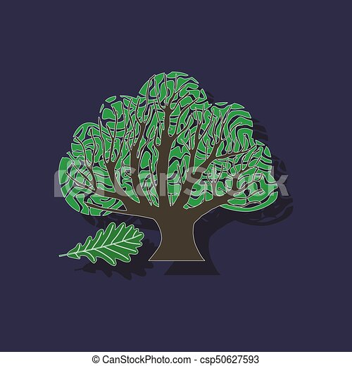 paper sticker on stylish background plant Quercus - csp50627593