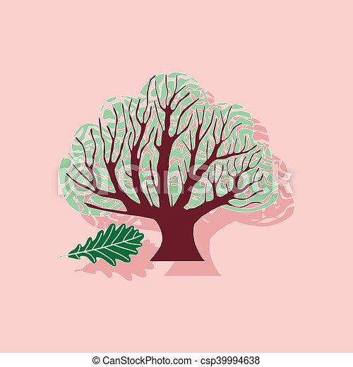 paper sticker on stylish background plant Quercus - csp39994638