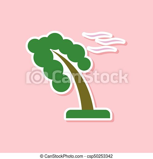 paper sticker on stylish background of strong wind tree - csp50253342