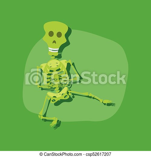 Paper sticker on stylish background skeleton halloween monster csp52617207