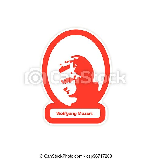 Paper Sticker On White Background Wolfgang Amadeus Mozart Clip Art