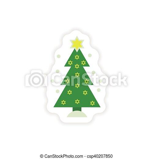 paper sticker on white background Hanukkah tree - csp40207850