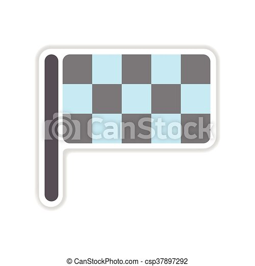 paper sticker on white background finish flag - csp37897292
