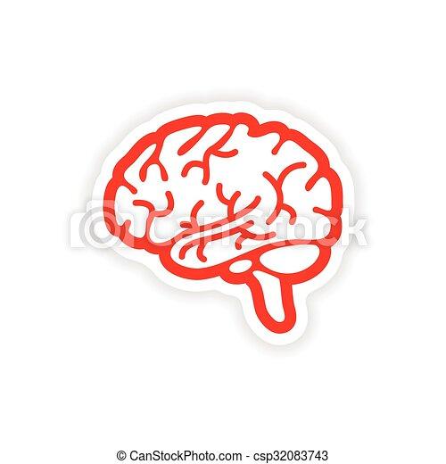 paper sticker on white background human brain - csp32083743