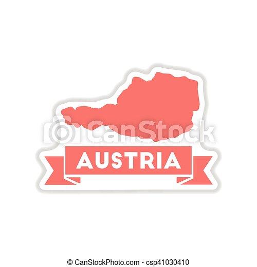 paper sticker on white background map of Austria - csp41030410