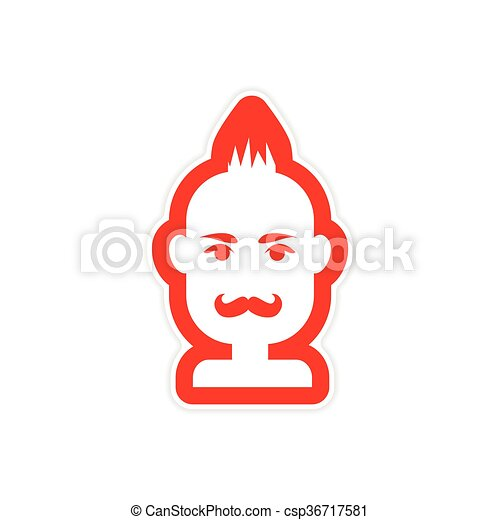 Paper sticker on white background mens haircut csp36717581
