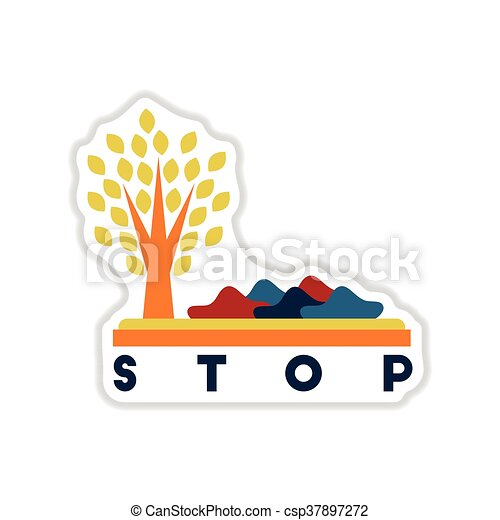paper sticker on white background stop environmental pollution - csp37897272