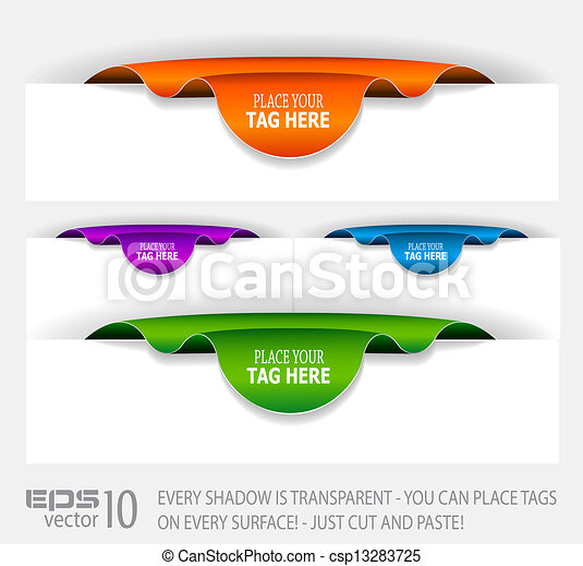 Paper Stylish tags with TRANSPARENT shadows.  - csp13283725