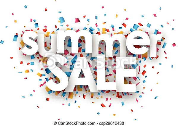 paper summer sale confetti sign white summer sale sign over