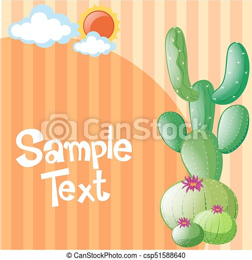 Paper template with cactus and sun illustration eps vector - Search ...